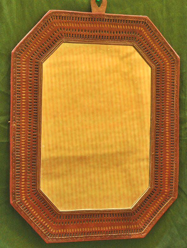 Kutch Cutwork Leather - Mirror Frame, Octagon - The India Craft House