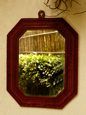 Kutch Cutwork Leather - Mirror Frame, Octagon