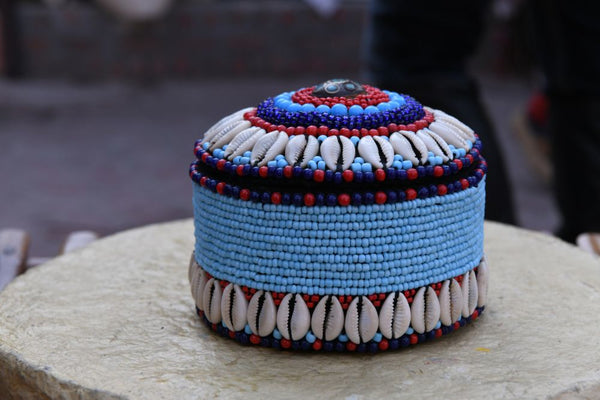 Ladakh Beadwork Box With Lid - Small