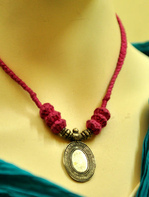 Lambani Tribal Craft - Metal & Thread Necklace, Pink Thread