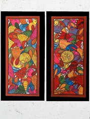 "Large Potua Art Painting With Mount (Set of 2) - Wedding Of The Birds (30""x14"")"