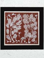 "Large Warli Painting With Mount - Village Scene  (16""x15.5"")"
