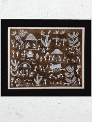 "Large Warli Painting With Mount - Village Scene (16""x 19"")"