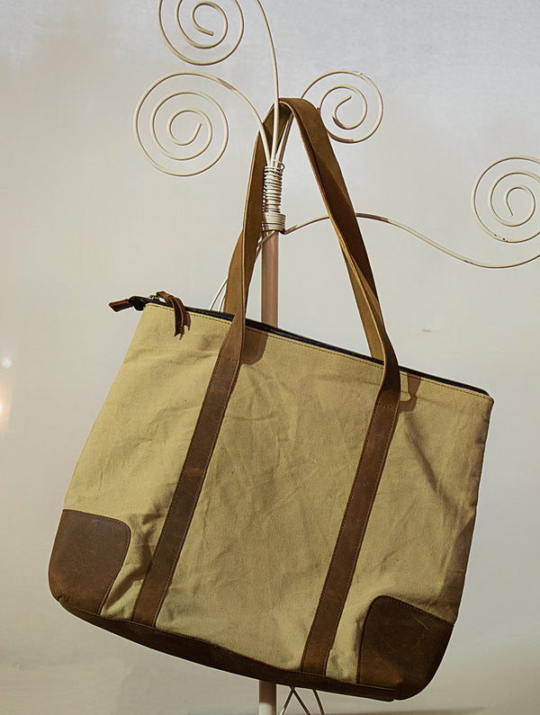 Large Canvas Bag with Leather Trimmings - The India Craft House