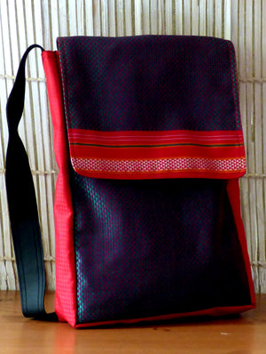 Large Crossfront Sling Bag with Khand Fabric Trimming