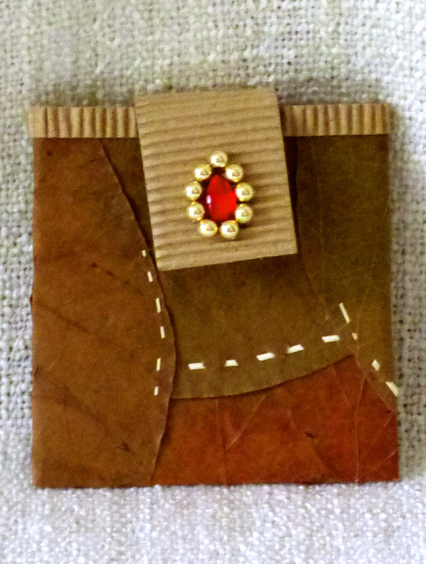 Leaf & Corrugate Small Gift Pouch - The India Craft House