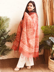 Light & Breezy Kota Dupatta - Warm Red