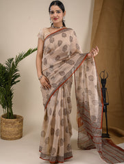 Light & Cool. Soft Bagru Block Printed Kota Doria Saree - Beige & Black Floral
