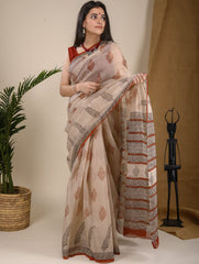Light & Cool. Soft Bagru Block Printed Kota Doria Saree - Beige & Black Ornate