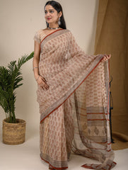 Light & Cool. Soft Bagru Block Printed Kota Doria Saree - Beige & Red Leaf Motf