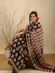 Light & Cool. Soft Bagru Block Printed Kota Doria Saree - Black Printed
