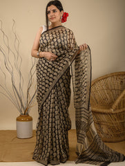Light & Cool. Soft Bagru Block Printed Kota Doria Saree - Black & Beige Paisleys