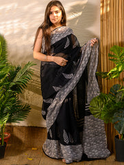 Light & Cool. Soft Bagru Block Printed Kota Doria Saree - Black & White