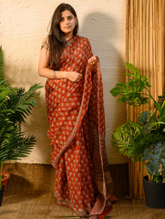 Light & Cool. Soft Bagru Block Printed Kota Doria Saree - Brick Red