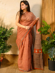 Light & Cool. Soft Bagru Block Printed Kota Doria Saree - Brick Red Printed