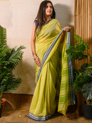 Light & Elegant. The Handwoven Cotton Nagpuri  Saree - Lemon Yellow
