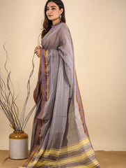 Light & Elegant. The Handwoven Cotton Nagpuri  Saree - Soft Grey