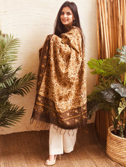 Light & Elegant Bagru Printed Chanderi Dupatta - Brown & Beige