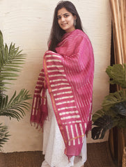 Light & Elegant Chanderi Batik Dupatta - Pink & White