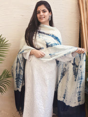 Light & Elegant Tie & Dye Chanderi Dupatta - White & Cool Blue