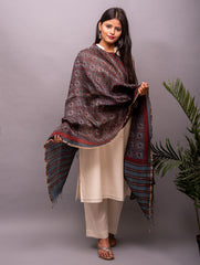 Linen Silk With Ajrakh Block Printing Dupatta