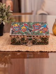 "Madhubani Art Storage  Steel Trunk - 8"" (Medium)"