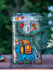 Madhubani Art ✿ Steel Canister (Medium)