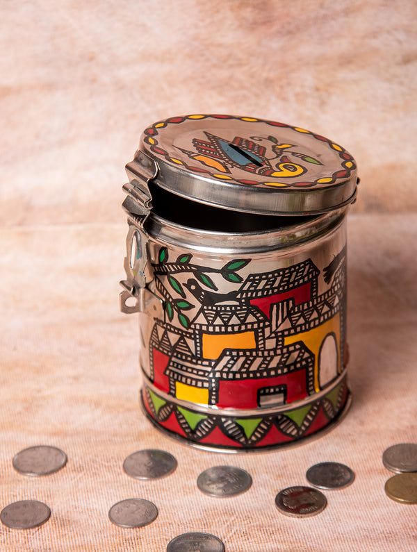 Madhubani Steel Round Money Box, Small