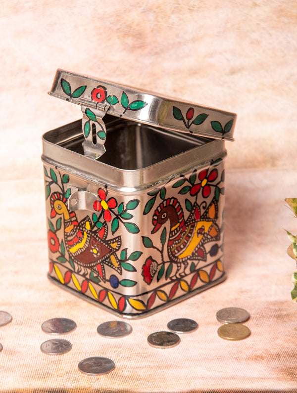 Madhubani Steel Square Money Box, Small