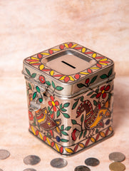 Madhubani Steel Square Money Box , Small