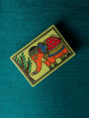 Madhubani Art - Painted Wood Match Box Curio