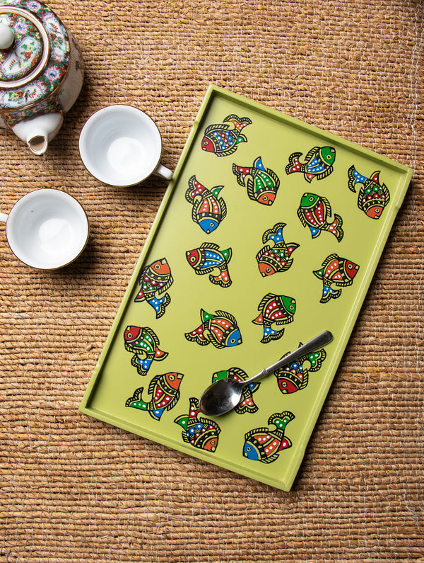 Madhubani Art - Painted Wooden Tray - The India Craft House