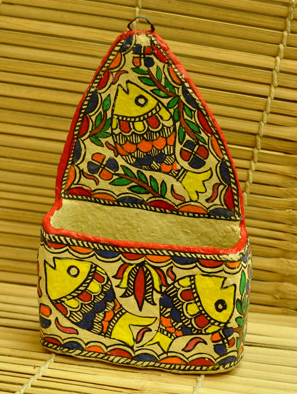 Madhubani Art Papier Mache - Letter & Paper Holder - The India Craft House