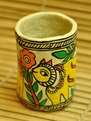Madhubani Art Papier Mache - Pen Holder, Cow Motif