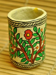 Madhubani Art Papier Mache - Pen Holder, Flower Motif