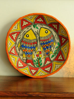 Madhubani Art Papier Mache - Utility Basket, Multicoloured