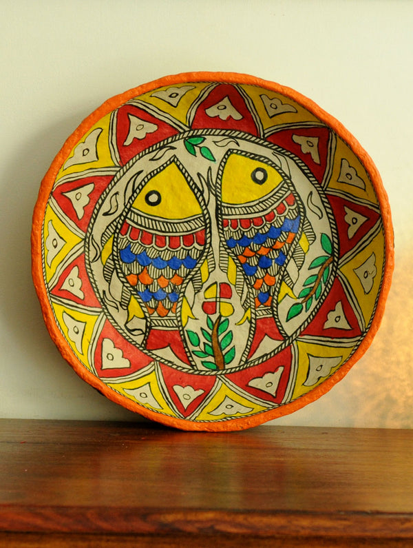 Madhubani Art Papier Mache - Utility Basket, Multicoloured - The India Craft House