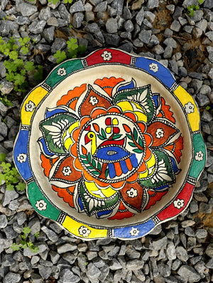 Madhubani Art Papier Mache - Wall Plaque or Tray
