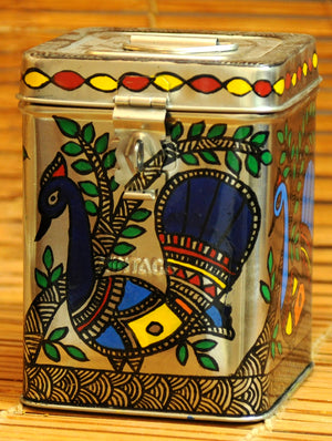 Madhubani Painted - Steel Canister, Small