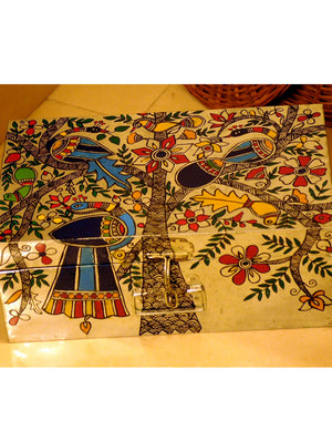 Madhubani Painted - Tin Trunk, Peacock & Flora, Large