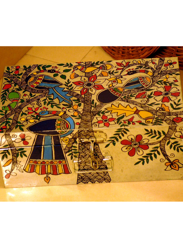 Madhubani Painted - Tin Trunk, Peacock & Flora, Large - The India Craft House