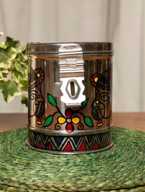 Madhubani Steel Round Money Box, Small - The India Craft House