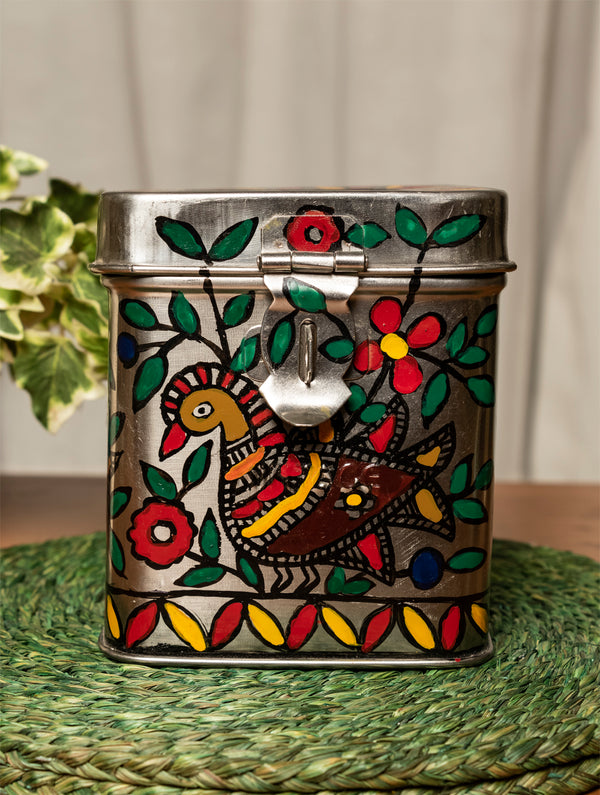Madhubani Steel Square Money Box , Small - The India Craft House