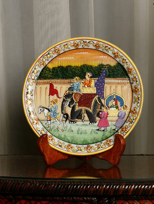Rajasthani Marble Plate with Miniature Art, Large