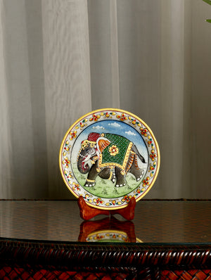 Rajasthani Marble Plate with Miniature Art, Small