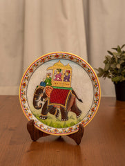 Marble Painted Decorative Plate with Stand - King on Elephant (Large)