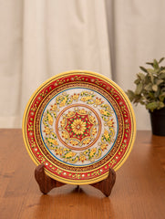 Marble Painted Decorative Plate with Stand - Ornate Floral (Large)