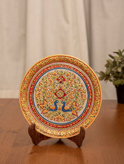 Marble Painted Decorative Plate with Stand - Ornate Floral & Peacocks (Large)