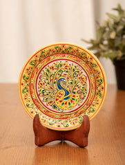 Marble Painted Decorative Plate with Stand - Ornate Peacock (Small)