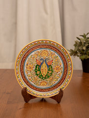 Marble Painted Decorative Plate with Stand - Ornate Peacocks (Large)